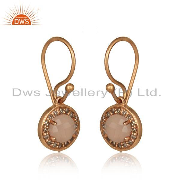 Diamond rose chalcedony designer dangle in rose gold on silver 925
