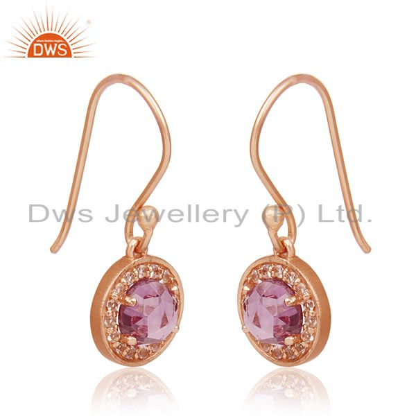 Exporter Amethyst Gemstone and White Topaz Gemstone Rose Gold Plated 925 Silver Earrings