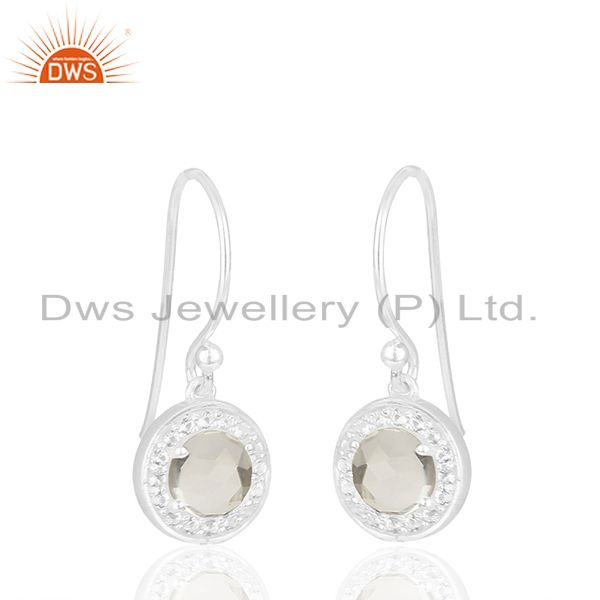 Exporter White Topaz and Crystal Quarta 925 Silver Drop Earrings Wholesale
