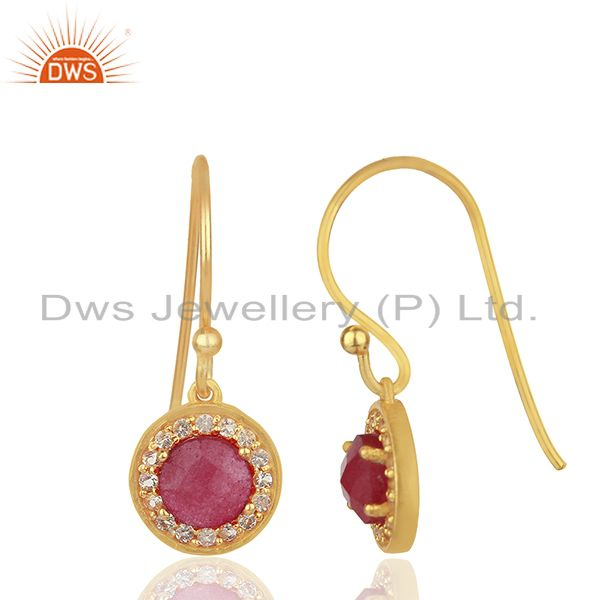 Exporter Multi Gemstone Gold Plated 925 Sterling Silver Drop Earrings Jewelry