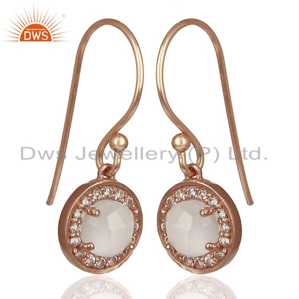 Exporter Round Crystal and Topaz Gemstone Rose Gold Silver Drop Earring Jewelry