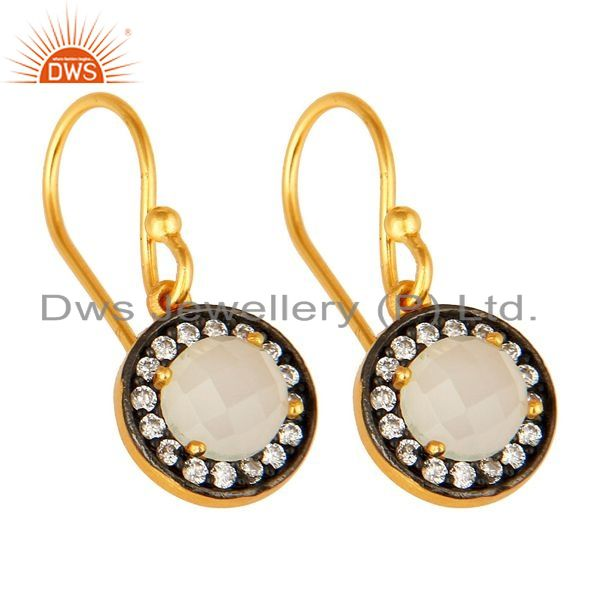 Exporter 18K Gold Plated Sterling Silver White Moonstone Earrings With Cubic Zirconia