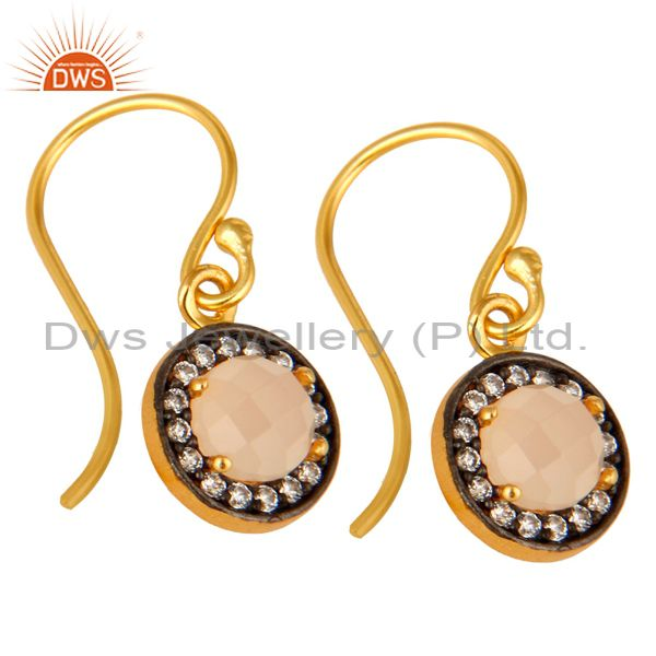 Exporter Rose Chalcedony Gemstone And CZ Sterling Silver Dangle Earrings With Gold Plated