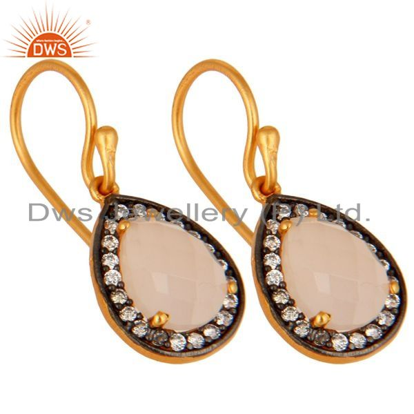 Exporter Natural Rose Chalcedony Gemstone Earrings Made In 22K Gold Over Sterling Silver