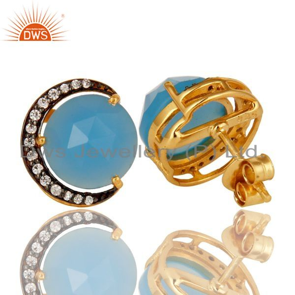 Exporter 18K Gold Plated Sterling Silver Aqua Blue Chalcedony Stud Earrings With CZ