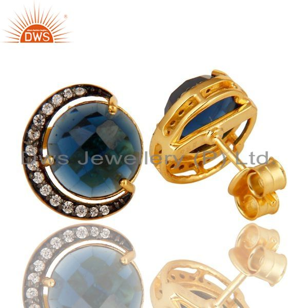 Exporter 18K Yellow Gold Plated Sterling Silver Blue Corundum Stud Earrings With CZ