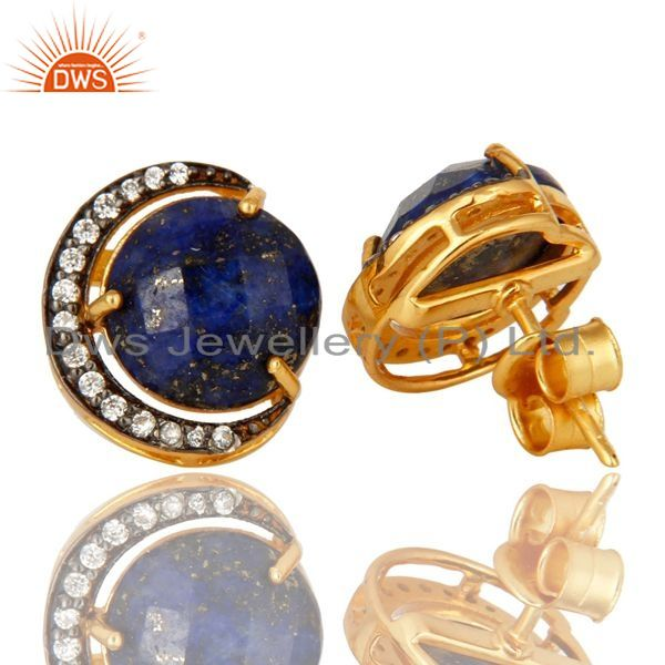 Exporter 18K Gold Plated Sterling Silver Lapis Lazuli Half Moon Stud Earrings With CZ