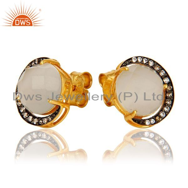 Exporter 18K Gold Plated Sterling Silver White Moonstone Half Moon Stud Earrings With CZ