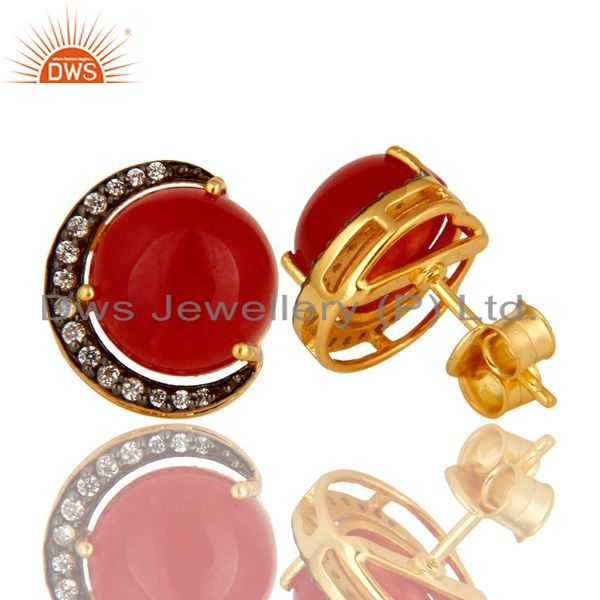 Exporter Natural Red Aventurine And CZ Designer Stud Earrings Made In 18K Gold On Silver