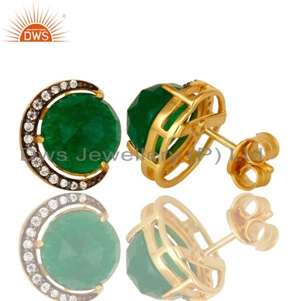 Exporter Green Aventurine And CZ Half Moon Stud Earrings In 18K Gold Over Sterling Silver