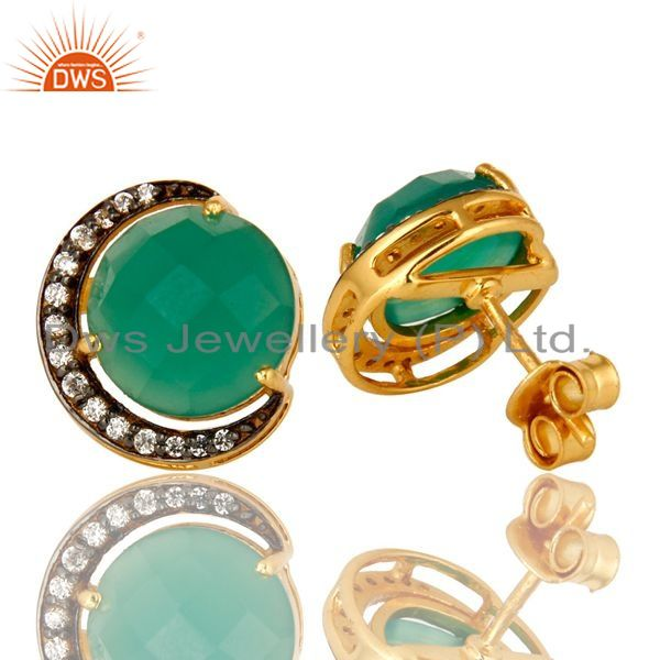 Exporter 18K Gold Plated Sterling Silver Green Onyx And CZ Halo Half Moon Stud Earrings