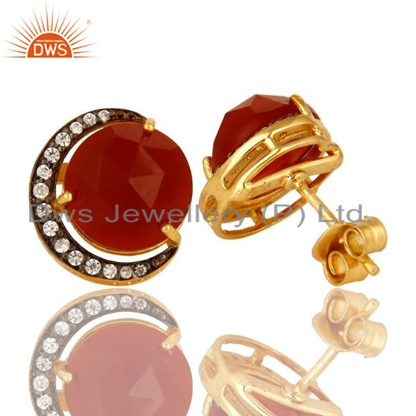 Exporter 18K Yellow Gold Plated Sterling Silver Red Onyx And CZ Designer Stud Earrings
