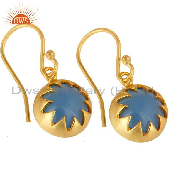 Exporter 14K Yellow Gold Plated Sterling Silver Blue Chalcedony Drop Earrings