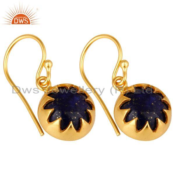 Exporter 14K Yellow Gold Plated Sterling Silver Lapis Lazuli Designer Dangle Earrings
