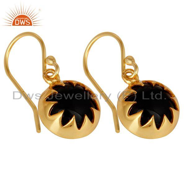 Exporter 14K Yellow Gold Plated Sterling Silver Black Onyx Gemstone Dangle Earrings