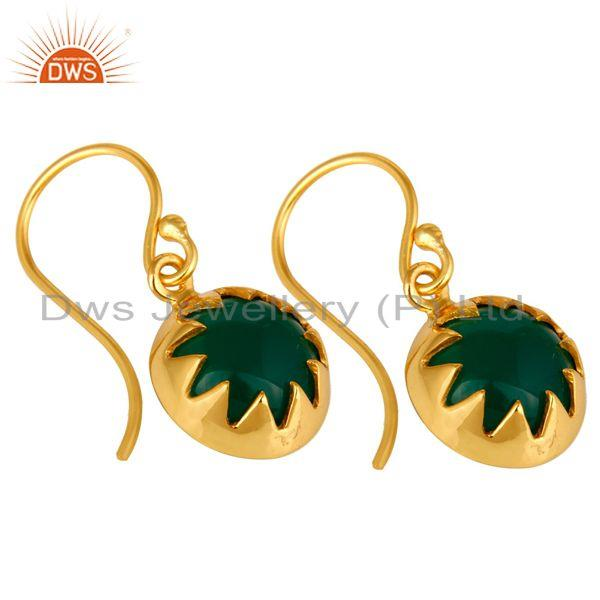 Exporter 18K Yellow Gold Plated Sterling Silver Green Onyx Gemstone Drop Earrings
