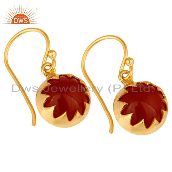 Exporter 14K Yellow Gold Plated Sterling Silver Natural Red Onyx Gemstone Drop Earrings