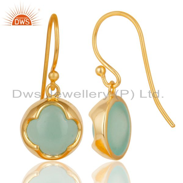 Exporter 14K Yellow Gold Plated Sterling Silver Dyed Chalcedony Gemstone Drop Earrings