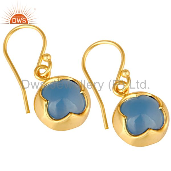 Exporter 14K Yellow Gold Plated Sterling Silver Aqua Chalcedony Gemstone Drop Earrings
