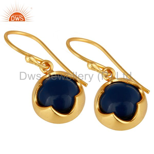 Exporter 14K Yellow Gold Plated Sterling Silver Blue Sapphire Corundum Earrings