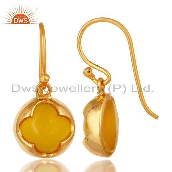 Exporter 925 Sterling Silver Yellow Moonstone Designer Earrings With Shiny Gold Plated