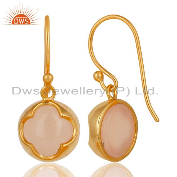 Exporter 14K Yellow Gold Plated 925 Sterling Silver Dyed Chalcedony Drops Earrings