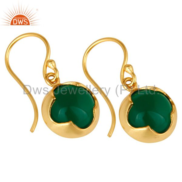 Exporter 14K Yellow Gold Plated Sterling Silver Green Onyx Designer Dangle Earrings