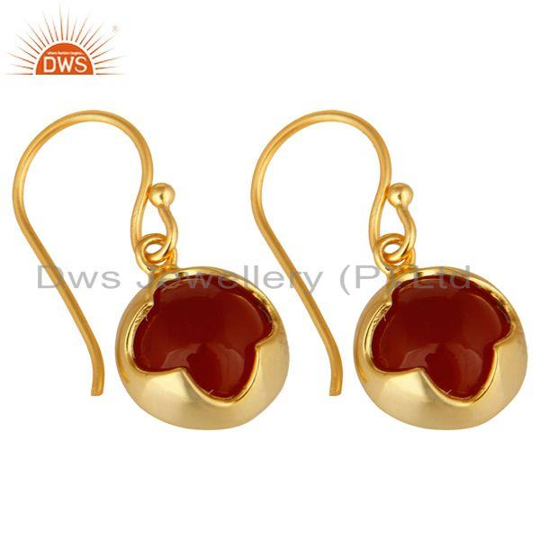 Exporter 14K Yellow Gold Plated Sterling Silver Red Onyx Gemstone Designer Earrings