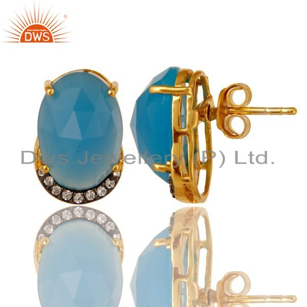 Exporter 18K Gold Plated Sterling Silver Blue Chalcedony And CZ Stud Earrings