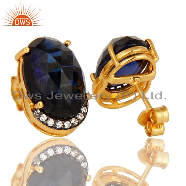 Exporter Sapphire Blue Corundum And CZ Stud Earrings In 18K Gold Over Sterling Silver