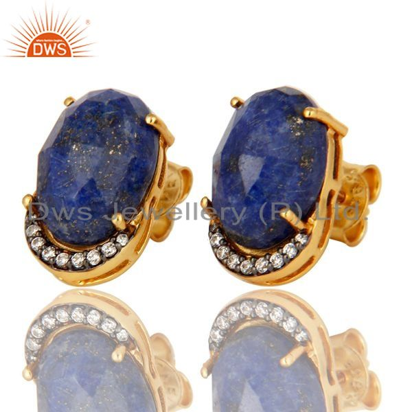 Exporter Natural Lapis Lazuli Gemstone And CZ Sterling Silver Stud Earrings - Gold Plated