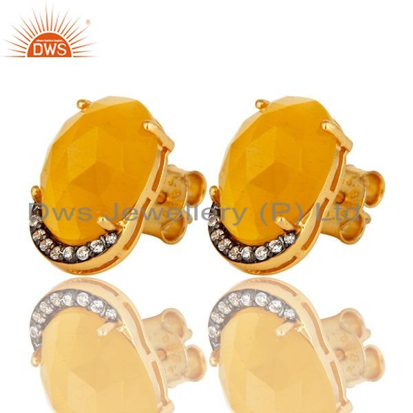Exporter Yellow Moonstone Gemstone And CZ Sterling Silver Stud Earrings With Gold Plated