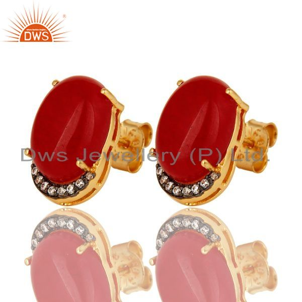 Exporter 18K Gold Plated Sterling Silver Red Aventurine Gemstone Stud Earrings With CZ