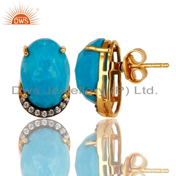 Exporter Turquoise And Cubic Zirconia Fashion Stud Earrings In 18K Gold Over 925 Silver