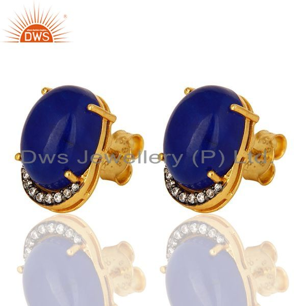 Exporter 14K Yellow Gold Plated Sterling Silver Blue Aventurine Womens Stud Earrings With