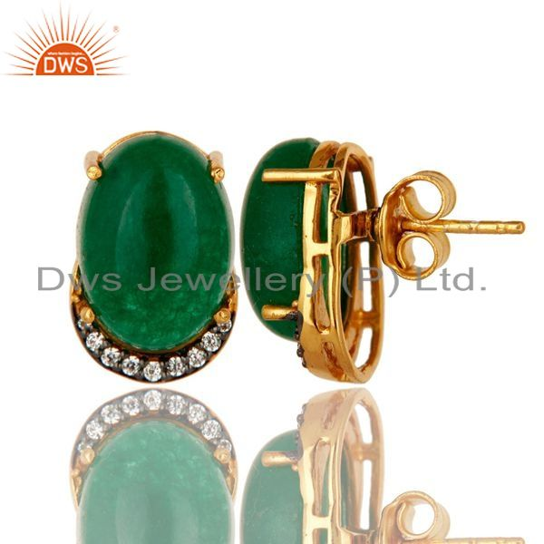 Exporter Green Aventurine And CZ 18K Gold Plated Sterling Silver Prong Set Stud Earrings