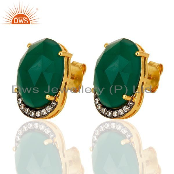 Exporter 14K Yellow Gold Plated Sterling Silver Natural Green Onyx Stud Earrings With CZ