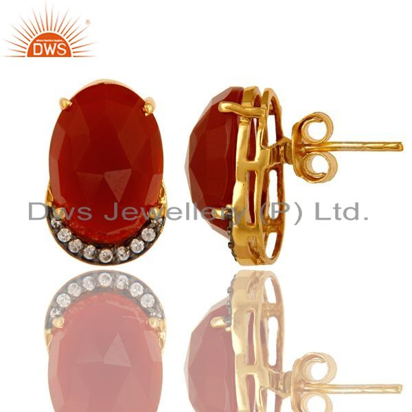 Exporter 18K Gold Plated Sterling Silver CZ And Red Onyx Stud Earrings