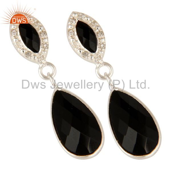 Exporter 925 Sterling Silver Black Onyx Gemstone Dangle Earrings With White Topaz
