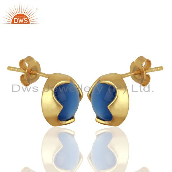 Exporter Blue Chalcedony Studs 18K Gold Plated 925 Sterling Silver Mini Earrings Jewelry
