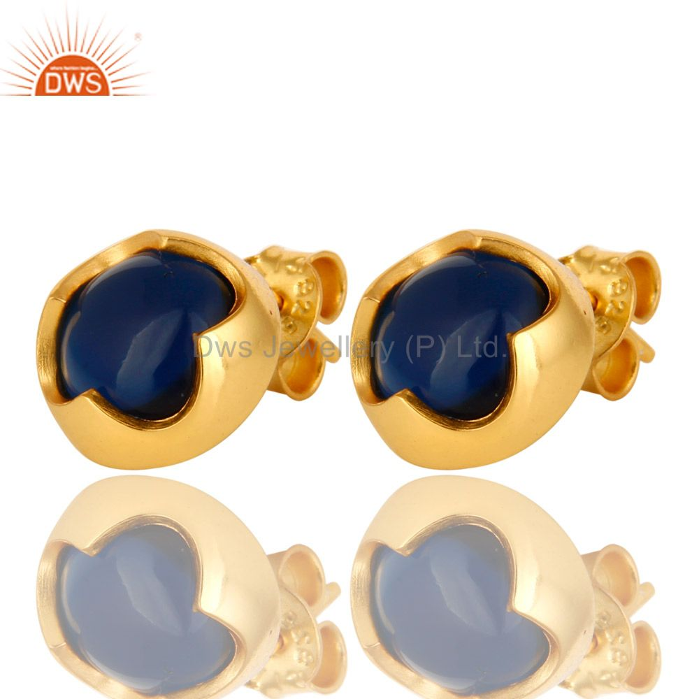 Exporter 14K Yellow Gold Plated Sterling Silver Blue Corundum Womens Stud Earrings