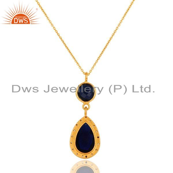 Exporter Blue Corundum And CZ Gold Plated Sterling Silver Pendant With 16