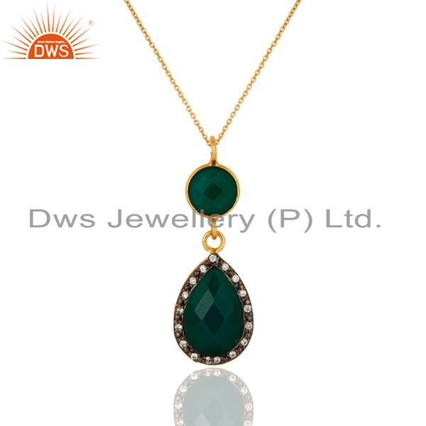 Exporter 18K Yellow Gold Plated Sterling Silver Green Onyx And CZ Drop Pendant With Chain