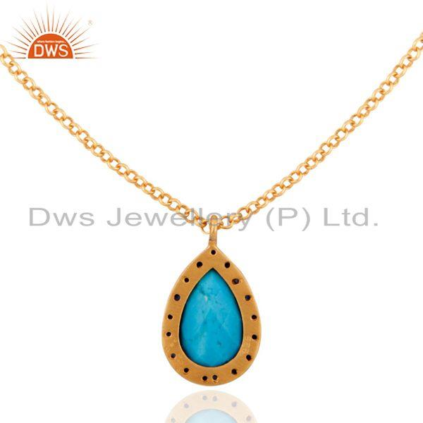 Exporter New Sterling Silver 18k Gold Blue Sapphire & Turquoise Pearshape Necklace