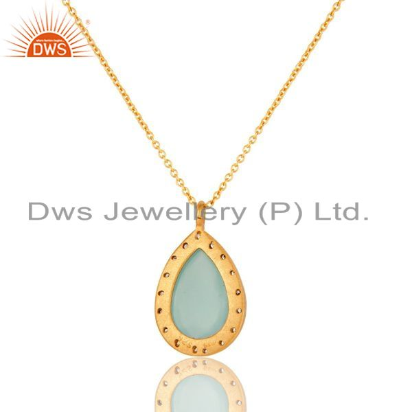 Suppliers CZ And Aqua Blue Ice Glass Gold Plated Sterling Silver Drop Pendant With Chain