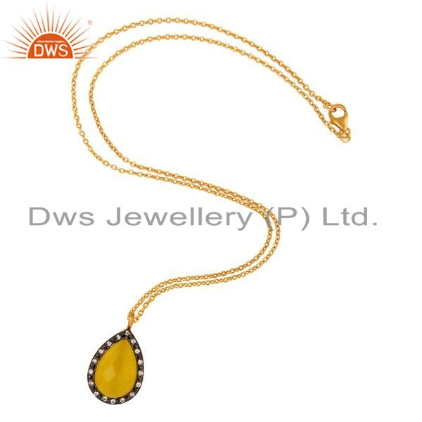 Exporter Yellow Gold Plated Sterling Silver Moonstone CZ Accent Drop Pendant With Chain