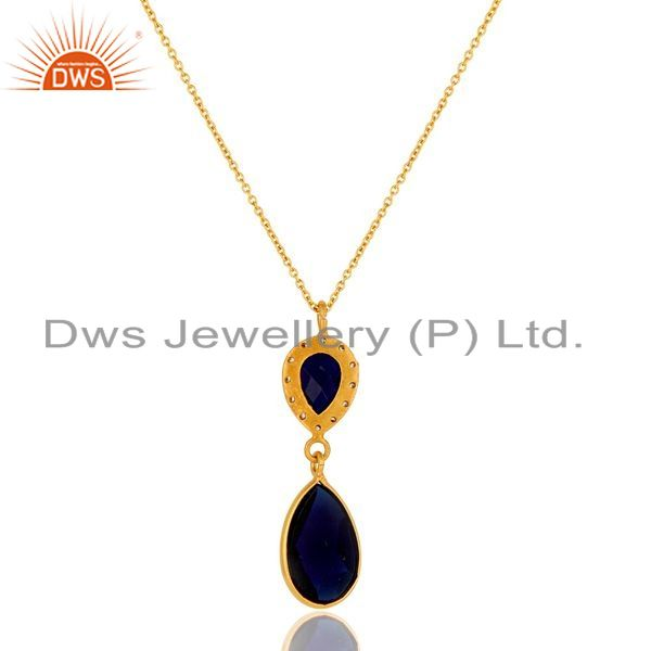 Exporter Sapphire Blue Corundum Teardrop Pendant Necklace In 18K Gold On Sterling Silver