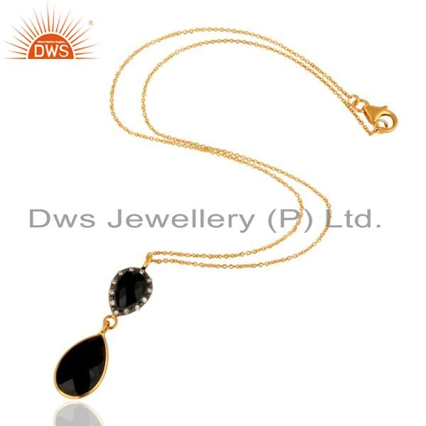 Exporter 925 Sterling Silver Natural Black Onyx Pendant Necklace - Yellow Gold Plated