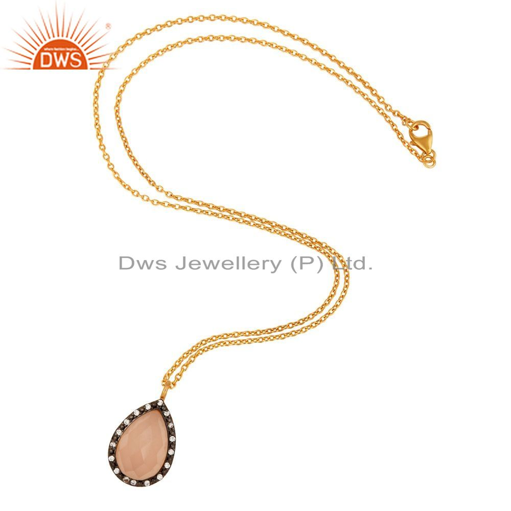 Exporter 18K Yellow Gold Over Sterling Silver Rose Chalcedony & White Zircon Drop Pendant