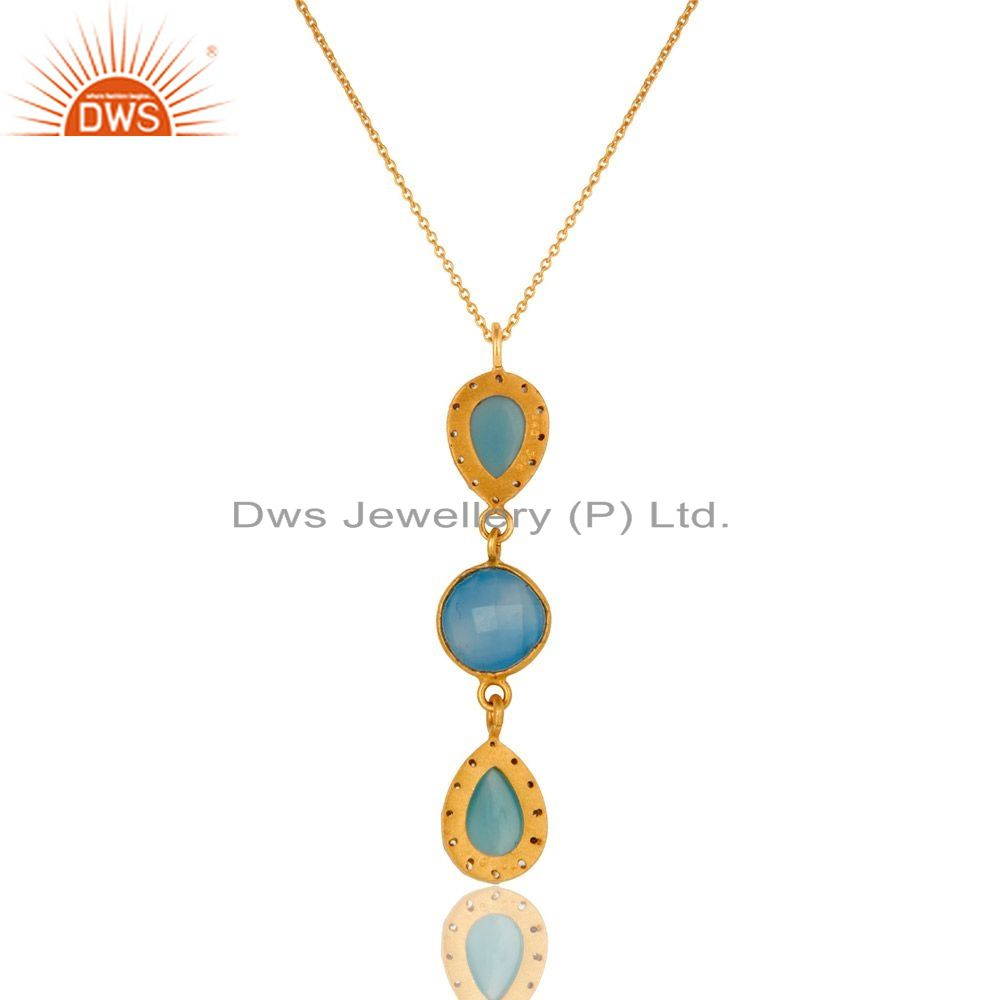 Exporter 14K Yellow Gold Plated Sterling Silver CZ And Blue Chalcedony Pendant With Chain
